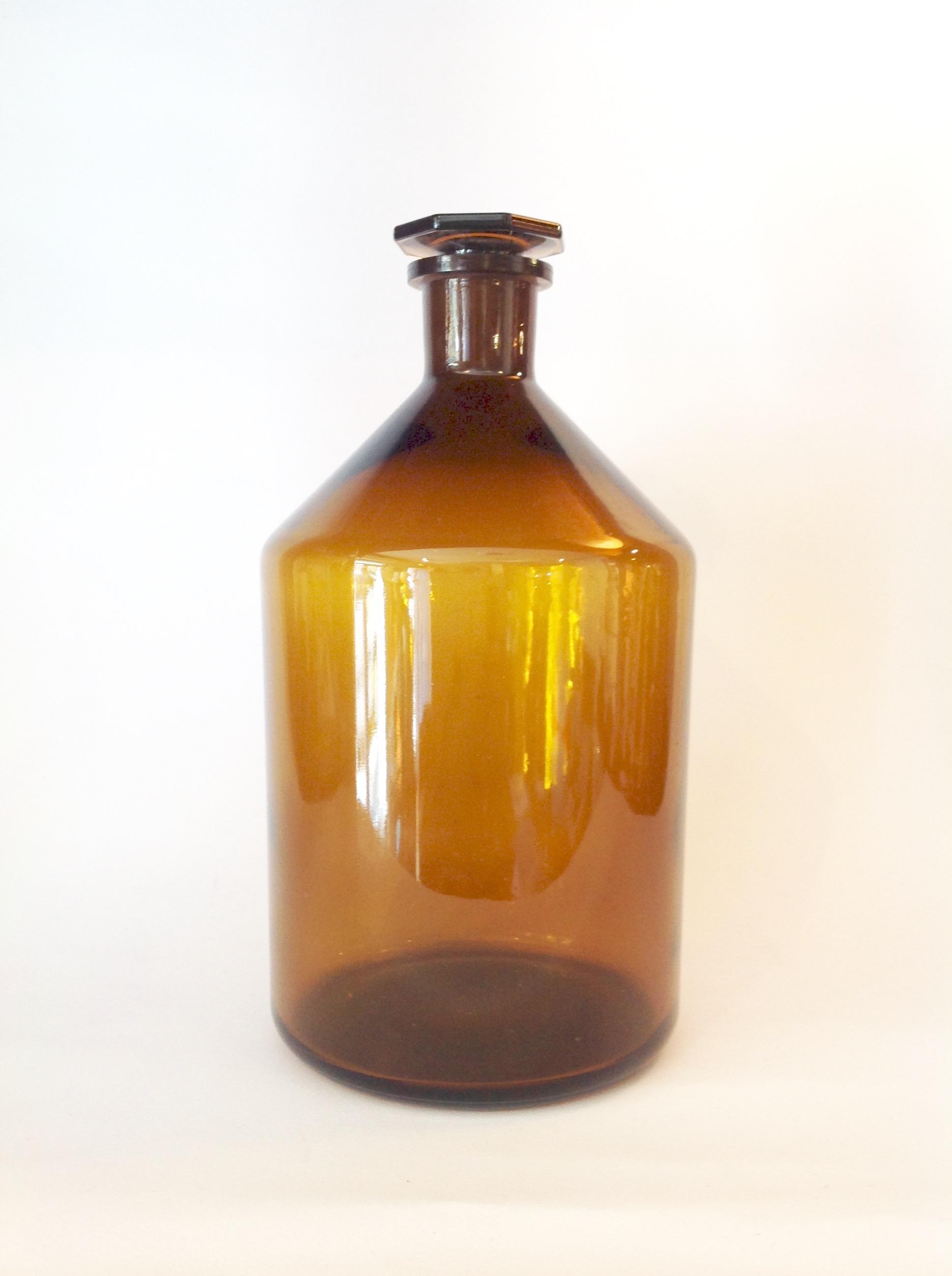 Flaconi vetro ambra tappo ottagonale ML 2000 H. 26 cm diametro 15 cm