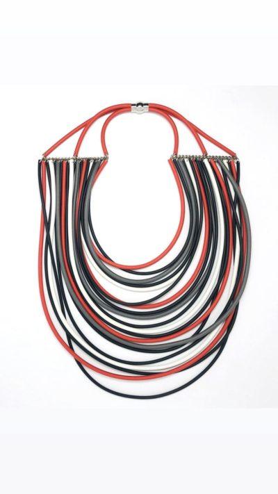 collana neoprene rossa e nera